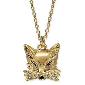 Kate Spade Pave Foxy Gold Tone Fox Necklace